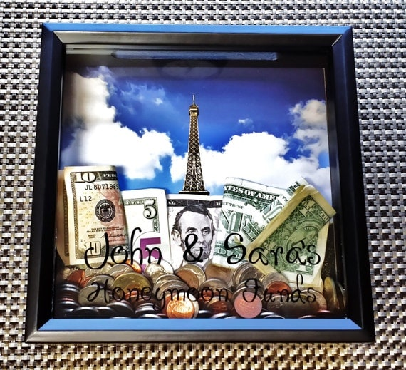 Black Personalized Money Bank Shadow Box Frame By