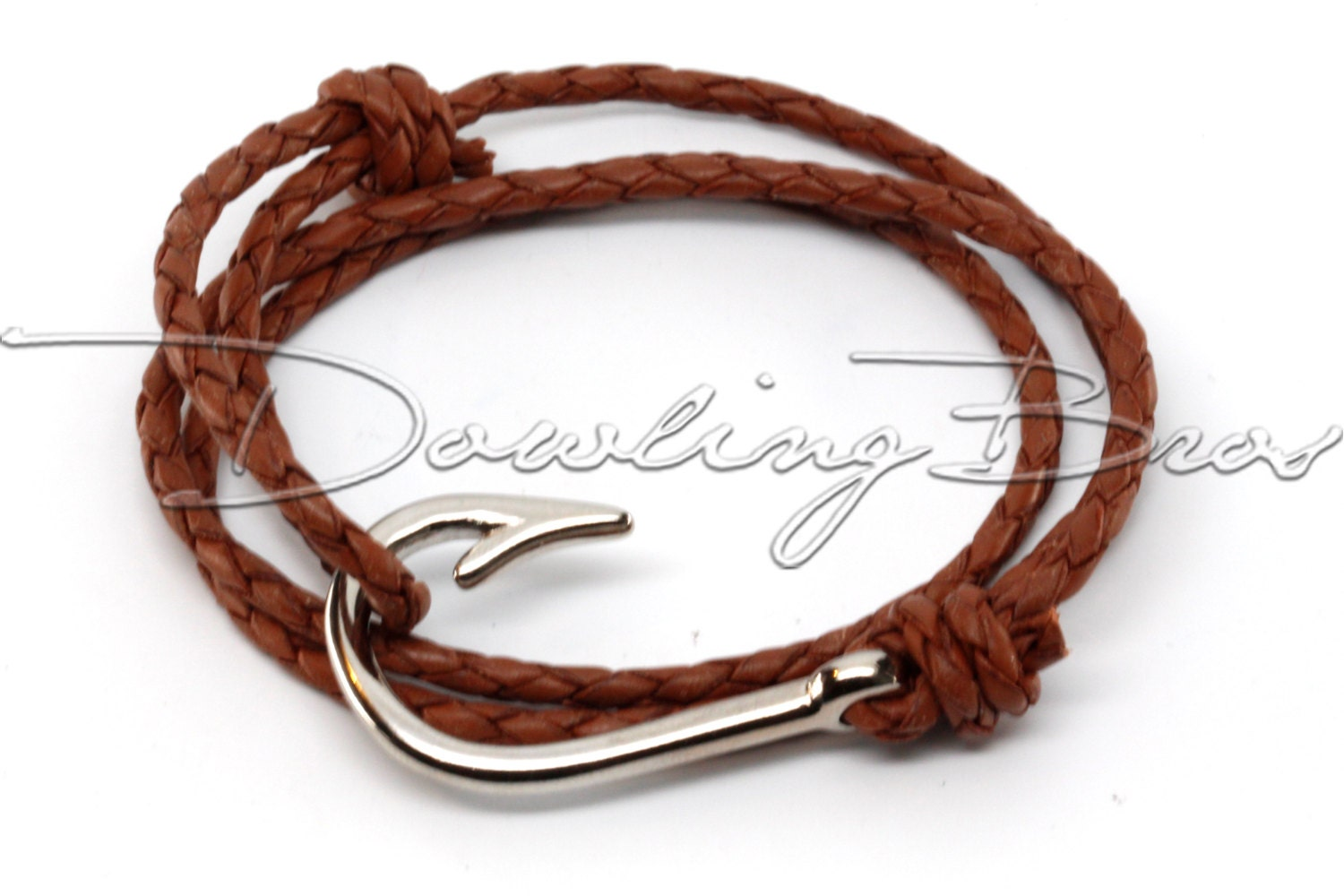 Fish hook bracelet on brown braided leather cord for Leather fish hook bracelet