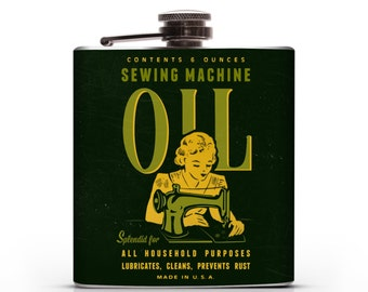 Vintage Sewing Machine Oil - 6oz Whiskey Hip Flask