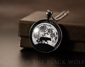 THE TRAVELER Wolf Necklace, gunmetal necklace, wolf with moon, wolf jewelry, full moon necklace