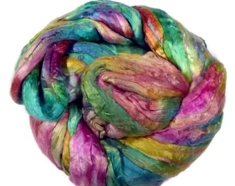 Mulberry Silk roving, hand dyed turquoise/pink/yellow