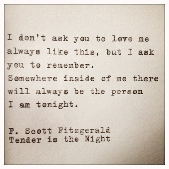 F Scott Fitzgerald Love Quote Alluring Fscott Fitzgerald Love Quote Made On Typewriter