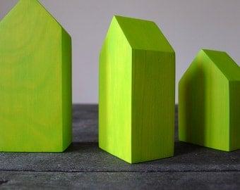 3 miniature wooden houses, pine wood houses, little houses, neon green, little wooden houses, geometric miniature houses
