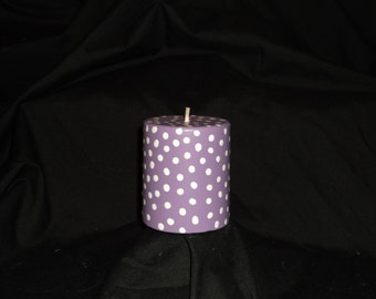 Polka Dot Purple Pillar Candle with Small or Large White Polka Dots