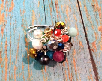 Multi-Colored Eclectic Cluster Ring