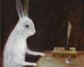"""Fine Art Print of an Original Animal Painting: """"The Turnip Spinner (After Chardin's, 'Gabriel Godefroy watching a top spin', c.1735"""""""