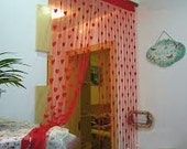 "Window curtain Set of 2 summer Heart Curtains Red color Size is 40x80"" inches window drapes door curtain bedroom curtains"