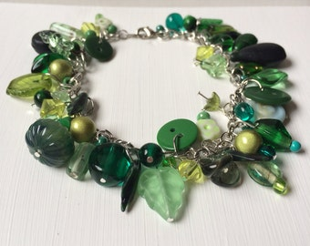 Sale! Green Beaded Charm Bracelet