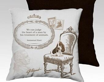 Basset cushion cover made to order -basset pillow- dog lover gift- basset hound decor- basset hound gift- pet cushion- pet pillow pet decor