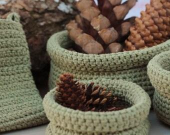 Crochet nesting bowls set - cotton organic - bathroom soap holder