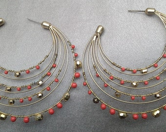 Red Coral and Gold Faceted Beads on Multiple Hoops: Vintage Pierced Earrings