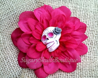 Day of the Dead, Sugar Skull Make Up, Accessory, Dia de los Muertos, Hair Clip Flower, Pink Dahlia, Halloween Costume, All Saints Day,