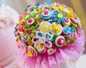 Hitched & Stitched Button Bouquet:  Candy Stripes with Pastel Brights