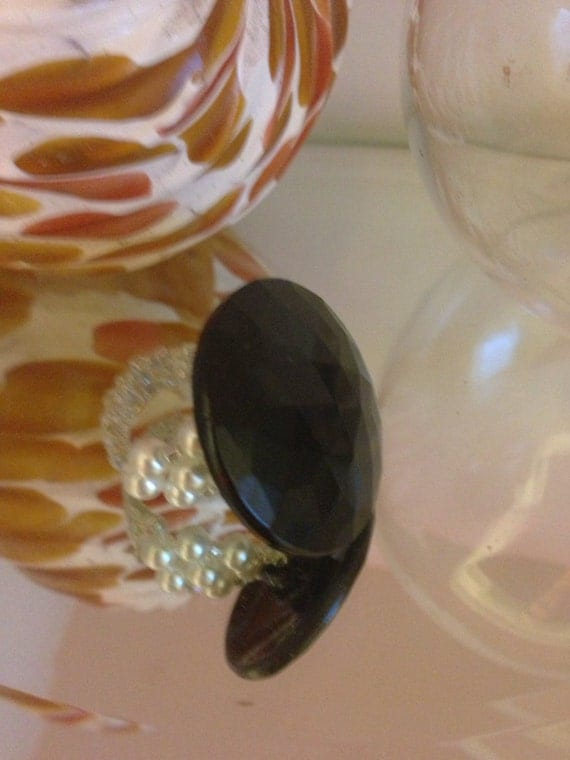 Black glass vintage button/ glass pearl ring