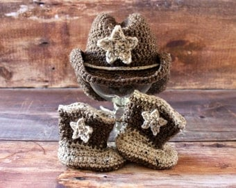 Cowboy Hat & Cowboy Boots - cowgirl hat newborn baby toddler child infant knit cowboy girls boys crochet