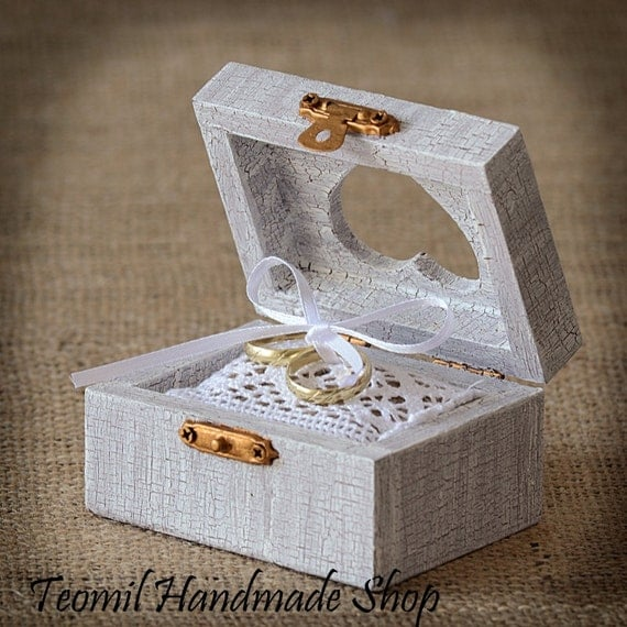 Rustic Wooden Wedding Ring Box Ring Bearer Vintage Style