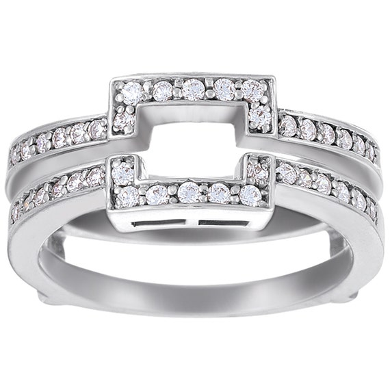 Square Halo Style Ring Guard Enhancer Wedding Ring Guard