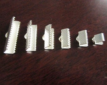120pcs Mix Sizes of Silver Plated Crimp Bead Leather Fastener Clips
