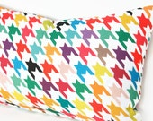 "Houndstooth Lumbar Pillow Cover - 12"" x 20"" - Linen / Cotton Blend"