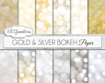 "Digital papers bokeh ""Gold & Silver Bokeh"" Bokeh Overlay, Gold digital backgrounds, Bokeh Background for Photographers, invitations and more"