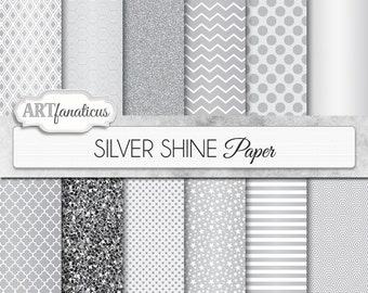 "Silver Papers ""SILVER SHINE"" digital paper with silver glitter, silver stars, silver chevron, quatrefoil, polka dots, on silver background"