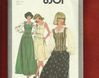 1977 Simplicity 8301 Boho Chic Raglan Sleeve Top Square Neckline Vest with Peplum & A-Line Skirt Size 10