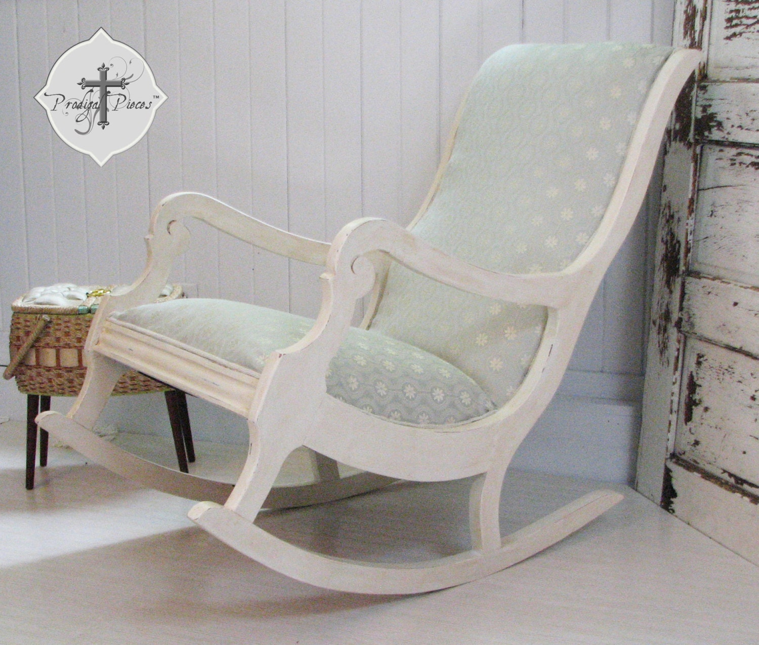antique vintage upholstered rocking chair with gorgeous fabric. Black Bedroom Furniture Sets. Home Design Ideas