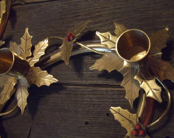 Vintage Set of Brass Candle Holders Holly Leaves and Berries Holds 4 candle Each