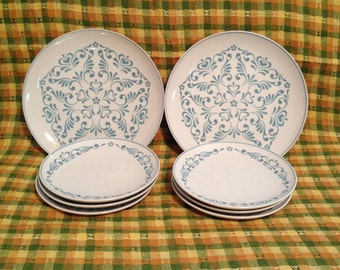 Vintage Franciscan Whitestone Ware Blue Fancy