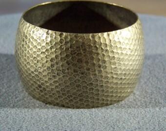 Vintage Brass fancy Pounded  bold wide  bangle bracelet       W