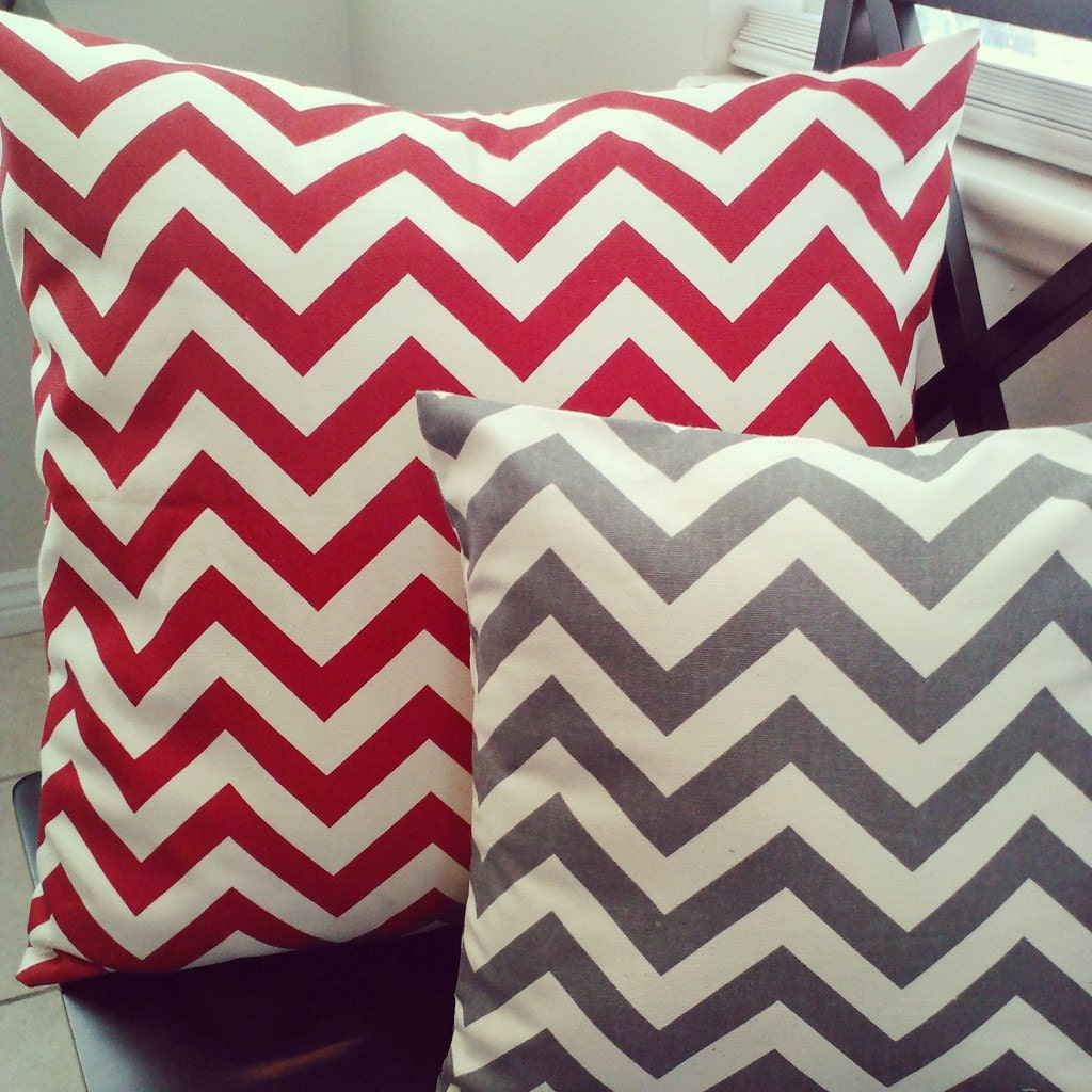 Pillow Cover Red Chevron Zig Zag Home Decor Fabric