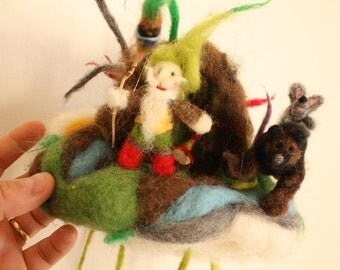 Waldorf Mobile Ornament with Forest Gnome, Magic Bear and Wise Mouse, Needle felted toy, decoration for nursery, soft sculpture