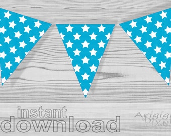 printable patriotic pennants - blue turquoise with white stars - for 4th of July decor - for Independence Day decoration