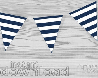 instant download printable striped pennant, NAVY BLUE and white, beach party banner, DIY pirate garland
