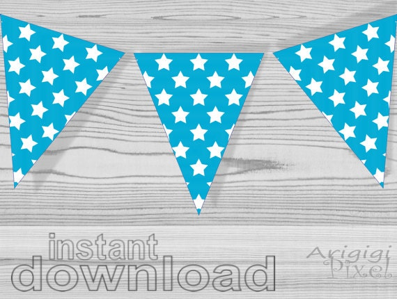 Printable Stars patterned banners - instant download - blue turquoise