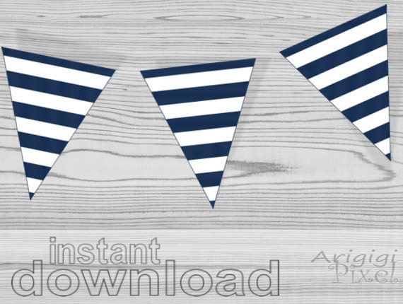 Navy blue and white printable striped beach party banner