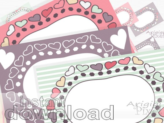 Digital Frames Valentine Hearts, pink retro labels, digital papers, small business use, for scrapbooking, cards, invitation, tags, canning