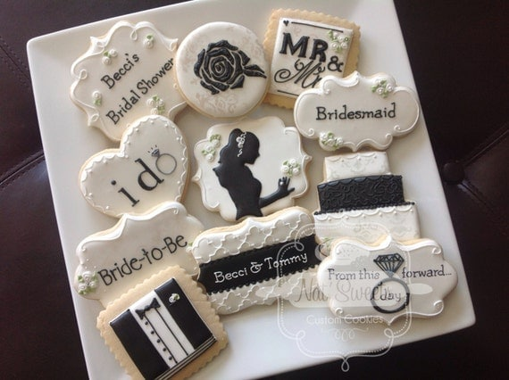 1 dozen elegant black & white wedding/bridal sower cookies