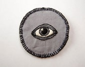 "All Seeing Eye -  Hand Embroidered 2.5"" Black and White on Gray Eye Patch"