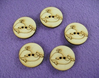 5 buttons, whale, wood, 3 cm  (15-0016A)