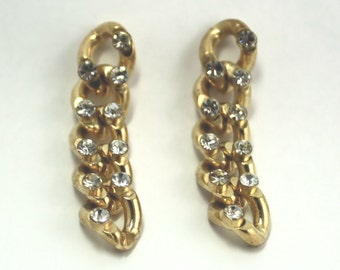 Vintage chain with rhinestones earrings