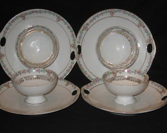 Made in Germany Porcelain Dessert Tidbit Plates With Attached Cups/Custard Cups/Snack Tray/Vintage China