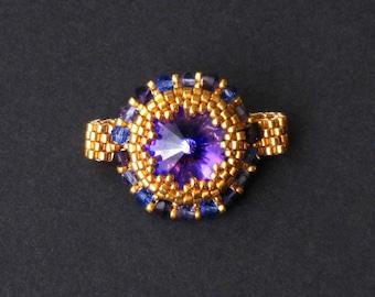 Heliotrope Swarovski Crystal and Gold Beaded Ring