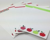 6 White Notecards with Envelopes - Apples for the Teacher, Back to school