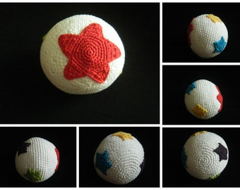 Crochet toy rattle ball with stars