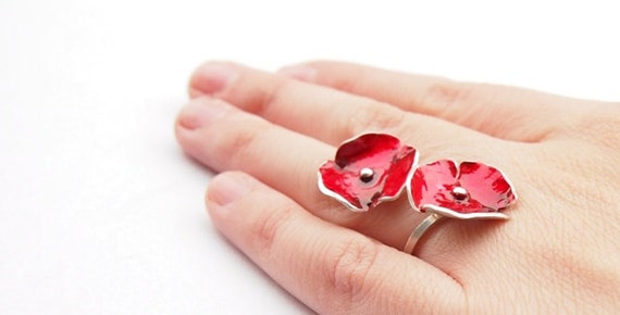 ElenaVJewels Red Poppy Ring