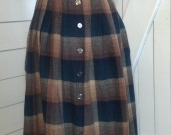 1970s Blue and Brown Wool Plaid Skirt Small