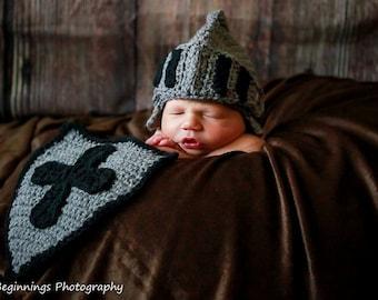 Crochet Knight shield photo prop - Custom made to order- Baby newborn knight