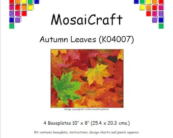 MosaiCraft Pixel Craft Mosaic Art Kit 'Autumn Leaves' (Like Mini Mosaic and Paint by Numbers)