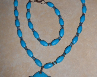 OOAK Turquoise Beaded Necklace, Bracelet and Earring Set